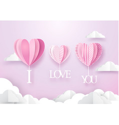 Heart shape balloons hanging with i love you word vector