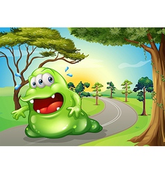 A fat monster jogging at the road vector