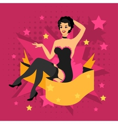 Card with beautiful pin up girl 1950s styleon vector