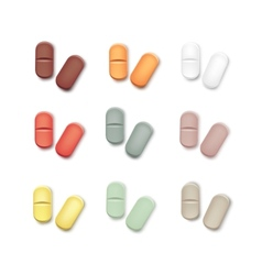 Set of multicolored pills isolated on white vector
