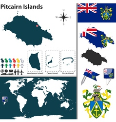 Pitcairn islands map vector