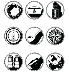 Nautical elements iv icons in knotted circle vector