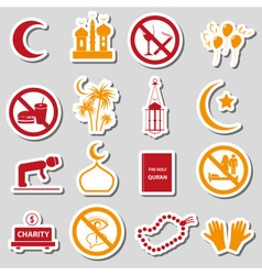 Ramadan islam holiday color stickers set eps10 vector