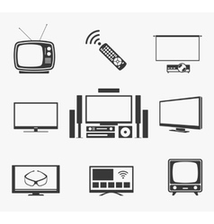 Retro tv flat screen home theater and smart icons vector