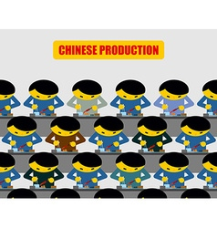 Chinese production lot of people at work chinese vector