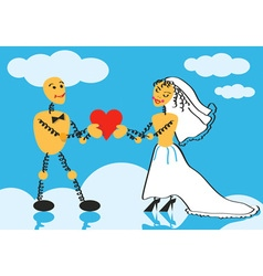 Bride and groom on cloud vector