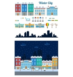 Winter city street set vector