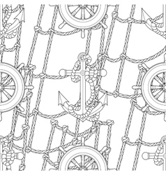 Ship equipment zentangle seamless pattern vector