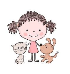 Girl kitten puppy 1 vector