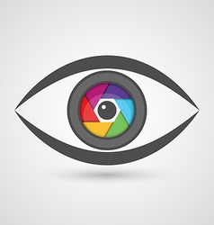 Icon eye as camera lens with colorful diaphragm vector