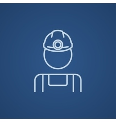 Coal miner line icon vector