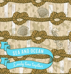 Marine background with ribbon vector
