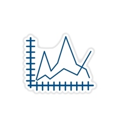 Paper sticker on white background economic graph vector