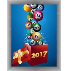 Bingo balls and gift box 2017 panel vector
