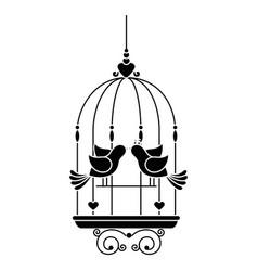 birdcage with cute dove icon vector image vector image