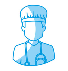 blue silhouette with half body of faceless male vector image