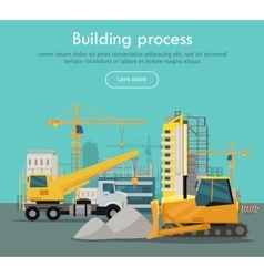 Building process web banner concept in flat style vector