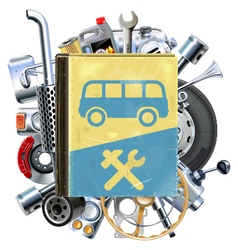 Bus Repair Book with Car Spares vector image vector image