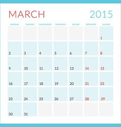 Calendar 2015 flat design template march week vector