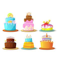 cartoon cream cakes set isolate on white vector image vector image
