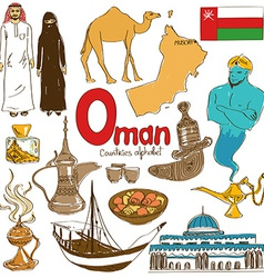Collection of oman icons vector