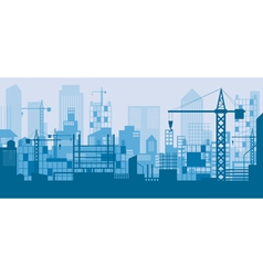 Construction skyline scene blue background vector