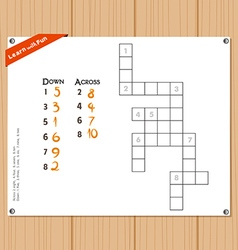 Crossword education game for children about number vector