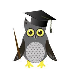 cute owl bird with graduation cap vector image