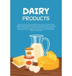 Dairy products poster template vector