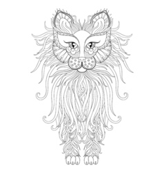 Fluffy cat in zentangle style freehand sketch for vector