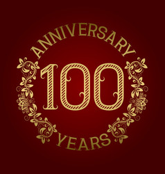 Golden emblem of hundredth anniversary vector