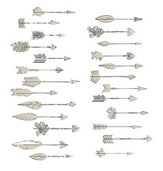 Hand drawn arrows collection doodle ethnic indian vector