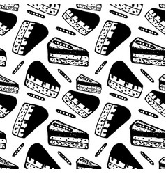 hand drawn seamless pattern with pieces of cakes vector image