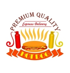 Hot dog ketchup and mustard fast food icon vector