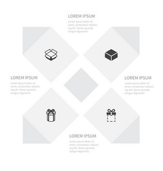 icon shopping set of package gift present and vector image