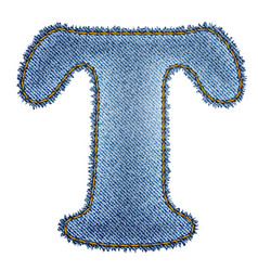 Jeans alphabet denim letter t vector