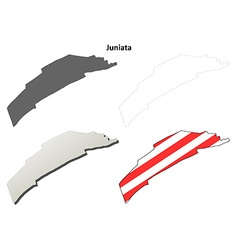 Juniata map icon set vector