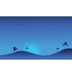 Landscape skiing on snow christmas collection vector
