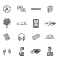 Language education icons set gray monochrome style vector