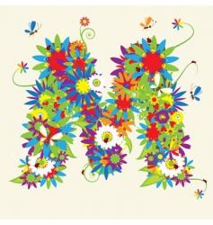 letter M floral design vector image