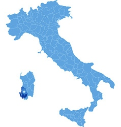 Map of Italy Carbonia-Iglesias vector image
