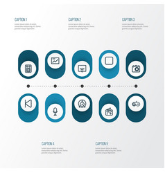 Media outline icons set collection of speaker vector