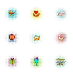 Mothers day icons set pop-art style vector