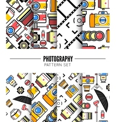 Photography seamless patterns set vector image