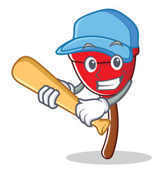 Playing baseball plunger character cartoon style vector