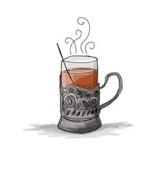 Tea cup vintage glass-holder sketch for your vector