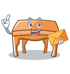 with envelope table character cartoon style vector image