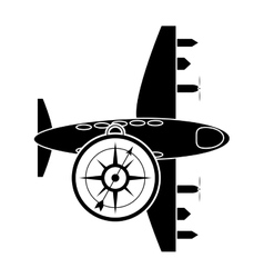 Airplane and compass icon vector