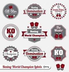 Boxing World Champion Labels vector image