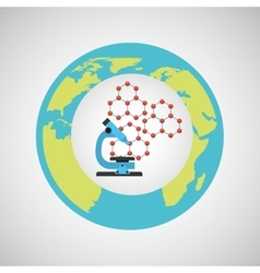 Eco science research microscope icon vector